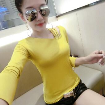 Ouzhouzhan เกาหลีหญิงฤดูใบไม้ผลิใหม่ bottoming เสื้อเล็กๆเสื้อยืด (สีดำ)