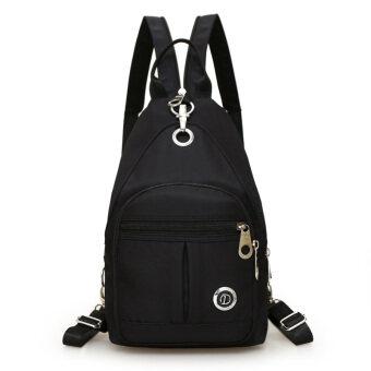 เกาหลีผ้า Oxford แบบ dual-ใช้ถุงมัมมี่กระเป๋าสะพายไหล่ไนลอน (สีดำ)