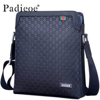Padieoe New Fashion Men Bags Split Leather Printing Casual Messenger Bag Youth Shoulder Bag Men Bag 10.6inch Blue High Quality - intl