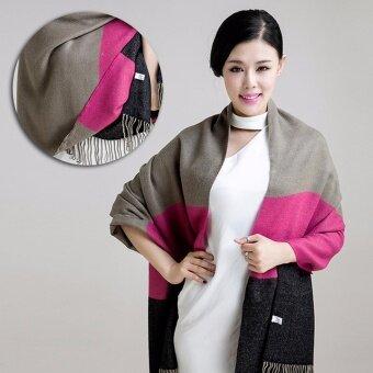 ผ้าพันคอ PALIO ผ้าคลุม ผ้าคลุมไหล่ สี (Camel + rose red + black)