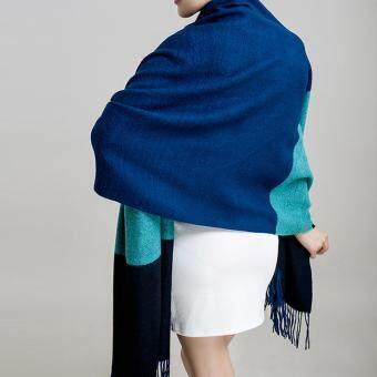ผ้าคลุม PALIO ผ้าคุมไหล่ ผ้าพันคอ สี(Dark blue + sky blue + black)