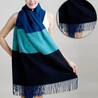 ผ้าพันคอ PALIO ผ้าคลุม ผ้าคลุมไหล่ สี (Dark blue + sky blue + black)