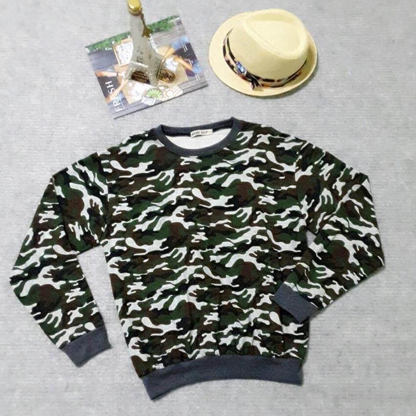 Panicha By mama เสื้อกันหนาวเเขนยาว ลายพราง สีเขียวเข้ม ผ้าเกล็ดปลา ผ้านิ่มใส่สบาย ( ไซส์ F ) รุ่น MM-029
