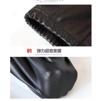 Papada-กางเกงเลคกิ้งหนัง ลองจอน กันหนาว ขายาว สีดำ - 5