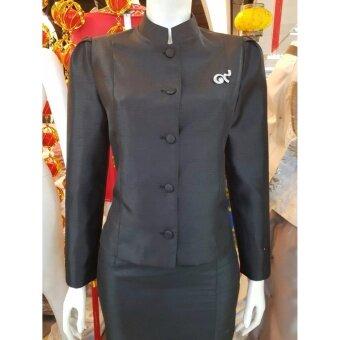 Papada Shop-ชุดผ้าไหมไทยจิตรลดา ชุดงานบวช งานมงคล งานแต่งไทยจิตรลดา หรู ดูดีสุดๆ - สีดำ