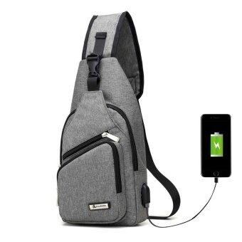 PATHFINDER Men Chest Pack Single Shoulder Strap Back Bag Canvas Travel Men Crossbody Bags Rucksack Chest Bag with USB Interface-Grey - intl
