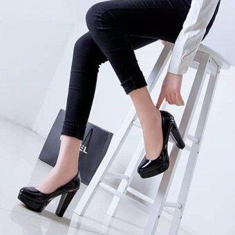 PATHFINDER ชุดแต่งงานแฟชั่นผู้หญิงปั๊มส้นรองเท้าออฟฟิศเลดี้ (สีดำ) - intl