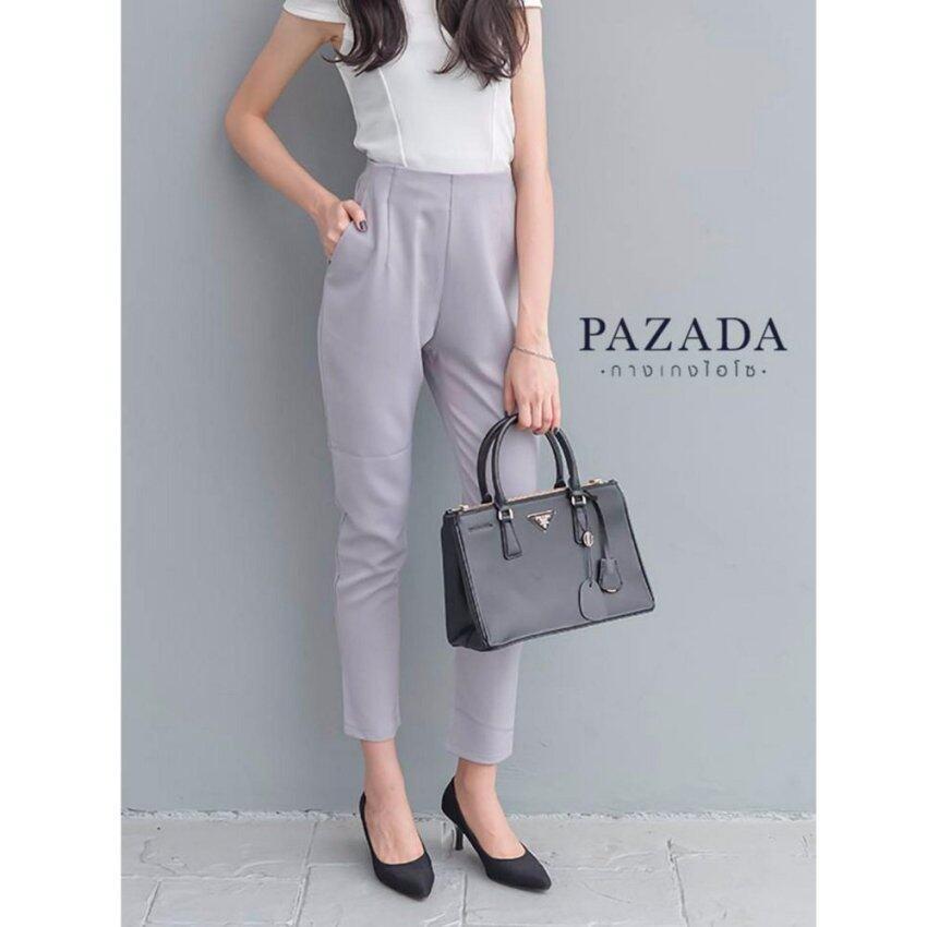 PAZADA กางเกงขายาวไฮโซ เนื้อผ้าเกาหลี 100% (Grey Purple)