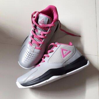 PEAK รองเท้า บาสเกตบอล Women Basketball shoes ทุกสภาพ สนาม พีค รุ่นE53392A - Gray/Pink