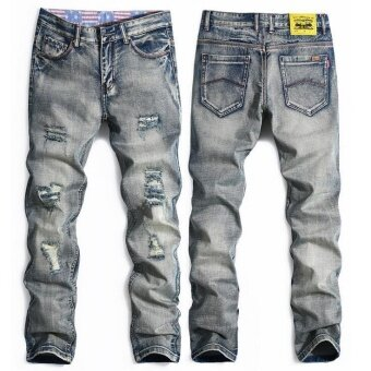 Personality popular clothing style hole patch jeans fashion men straight beggar trousers- Grey