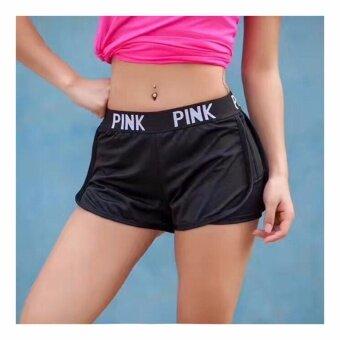 ซื้อ/ขาย กางเกงขาสั้น ออกกำลังกาย เล่นโยคะ (กางเกงขาสั้นสีดำ แถบดำ สาย PINK) - 1 ตัว