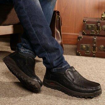 Plus Size 38-48 Men's Fashion Leisure British Genuine Leather ShoesLelaki Kasut Formal (Black) - intl - 5