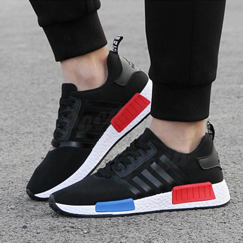 POCA SHOE NMD Sneakers Fashion รองเท้า ลำลอง ผ้าใบ ผู้หญิง-ผู้ชาย แฟชั่น ราคาถูกสวยๆ Sport Unisex รุ่น PSN-Black/White