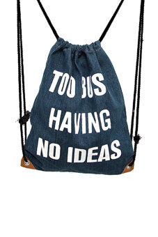 Portable Foldable Unisex Denim Canvas Adjustable Drawstring Leisure\nTravel Sports Gym Lightweight Backpack Bag - intl