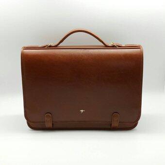 Praco กระเป๋าเอกสารหนังคอวัวแท้ รุ่น B095 สีน้ำตาล ขนาดกว้าง 12\nนิ้ว ยาว 16 นิ้ว