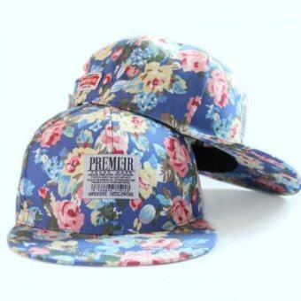 หมวกแก๊ป PREMIER ลายดอก น้ำเงิน