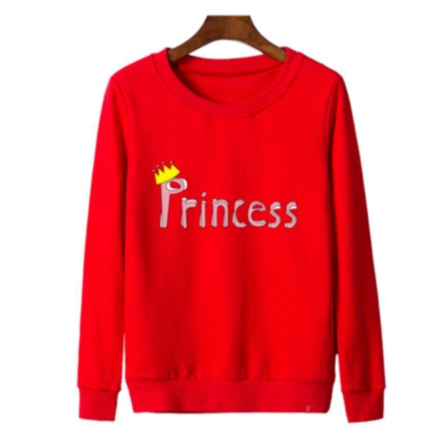 เสื้อแขนยาวแฟชั่น เสื้อกันหนาวคอกลม ลาย Princess (สีแดง)