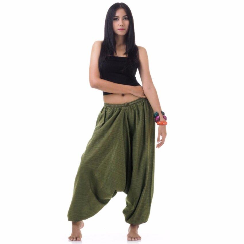 ขาย Princess of asia กางเกงอลาดิน กางเกงแม้วผ้าฝ้ายแท้ กางเกงอลาดิน - สีเขียวมะกอก