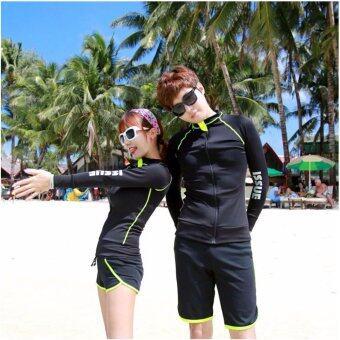 ชุดว่ายน้ำแขนยาวสตรี สีดำและ กางเกงว่ายน้ำสีดำ