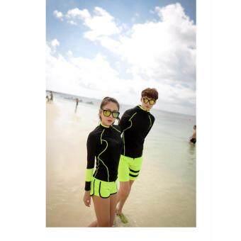 ชุดว่ายน้ำแขนยาวสตรี สีดำเขียวและ กางเกงว่ายน้ำขาสั้น