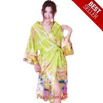 เสื้อคลุม กิโมโน ลายเกอิชา ชุดคลุม อาบน้ำ เสื้อคลุม ชุดนอน สีเขียวอ่อน