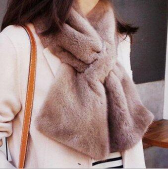 ผ้าพันคอ ผ้าคลุมไหล่ แฟชั่นหน้าหนาว เสื้อโค้ท เสื้อกันหนาว ผ้าพันคอขนสัตว์ สีน้ำตาลอ่อน