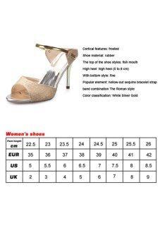 รองเท้าผู้หญิงรองเท้าส้นสูงรัดส้นสีเข็มขัดรัดเท้าเปิด (ขาว) - 4