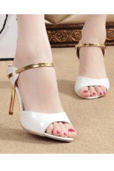 รองเท้าผู้หญิงรองเท้าส้นสูงรัดส้นสีเข็มขัดรัดเท้าเปิด (ขาว) - 2