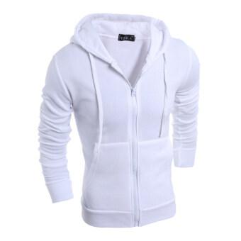 product 1477332245 1280563 e2e29221332fdf8c3457e92d42813335 product ขายราคาดี แฟชั่นเสื้อกีฬาของผู้ชายมีซิปแจ็กเก็ตสีทึบไปด้วยเหงื่อเสื้อเสื้อนอกขาว