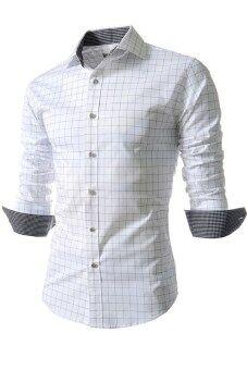 เสื้อเชิ้ตลายสก็อตแขนยาวธรรมดา (ขาว)