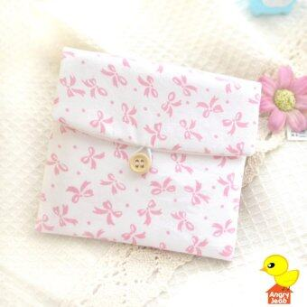 กระเป๋าใส่ผ้าอนามัยสีหวานน่ารัก สีขาวลายโบว์สีชมพู