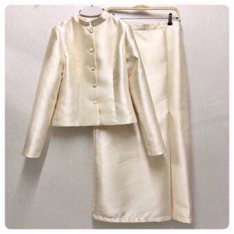 ชุดไทย ชุดขาว ชุดทำบุญ ชุดงานราชพิธี ชุดงานบวช ทรงจิตรดาทรงราชปะแตนหญิง- สีขาวงาช้าง