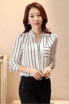 เสื้อเชิ้ตสไตล์เกาหลีร้อนหญ้าคาขายเสื้อสตรีลายคอวีเสื้อขาว