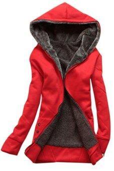 หญ้าคาของผู้หญิงเสื้อตัวนอกเสื้อคลุมเสื้อฮู้ดขนผ้าอุ่นแจ็คเก็ตสีแดง (image 0)