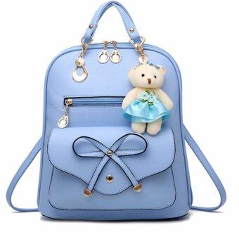 รีวิว กระเป๋าสะพายหลังผู้หญิง พร้อมพวงกุญแจตุ๊กตาหมี สีฟ้า
