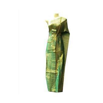 ชุดไทย สไบ สีเขียวปีกแมลงทับ พร้อมสร้อยสังวาลย์ สีเขียว สีเขียวเข้มชุดแฟนซี งานปีใหม่ ลอยกระทง งานแต่งงาน ชุดเพื่อนเจ้าสาว