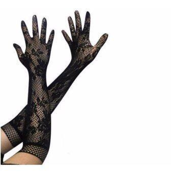 ถุงมือผ้ายืดออกงานสีดำ ถุงมือผ้าลูกไม้ออกงานปาร์ตี้ขนาดยาว (สีดำ)
