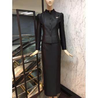 ชุดไทยจิตรดา งานทอผ้าไหมฝรั่งเศสสุดหรู สีดำ ชุดงานพระราชพิธีชุดไทยจิตลดา -สีดำ