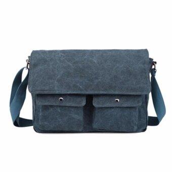 รีวิวพันทิป กระเป๋าสะพาย/สะพายข้าง ผ้าแคนวาสหนา (สีน้ำเงิน)