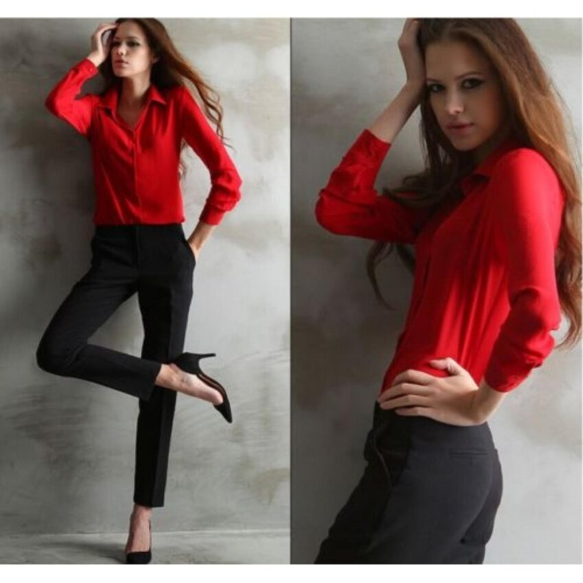ปกเสื้อชีฟองเนื้อแขนเสื้อยาวหลวม ๆ สบาย ๆมาใหม่เสื้อสตรีเสื้อเชิ้ตเสื้อยืดเสื้อ (สีแดง)