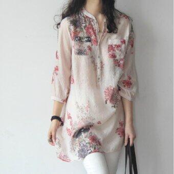 เสื้อเชิ้ตตัวใหญ่แบบหลวมผ้าลินินลายดอกไม้สไตล์เกาหลี ...