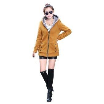 เสื้อกันหนาวหมวกฝ้ายผู้หญิงเสื้อแจ็คเก็ตแจ็คเก็ตสีเหลือง