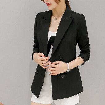 เสื้อสูทแจ็คเก็ตแขนยาวสตรีสไตล์เกาหลีเข้ารูปแบบติดกระดุมเม็ดเดียว (สีดำ)