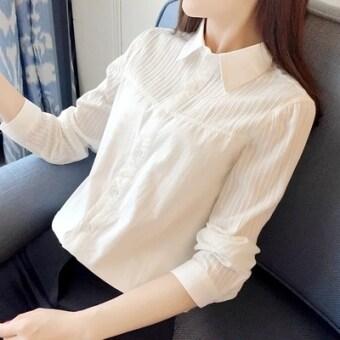 product 1507100044 45442494 dcea684c6bc663c87b1f2e168fb8cb4c product ถูกที่สุด เสื้อคอตตอนแท้สตรี แขนยาว คอตั้ง มีระบายที่คอ สไตล์เกาหลี  สีขาวคอปกแหลม