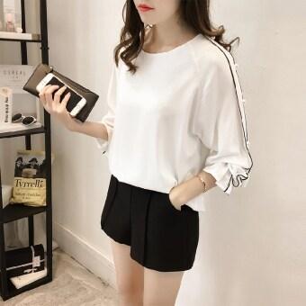 หลวมบ้านเกาหลีฤดูใบไม้ร่วงใหม่ชีฟองเสื้อ (สีขาว)