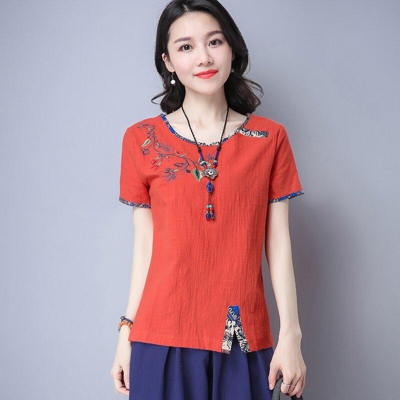 หลวมเย็บปักหญิงบางท็อปส์ซูเสื้อยืด (สีส้ม) (สีส้ม)