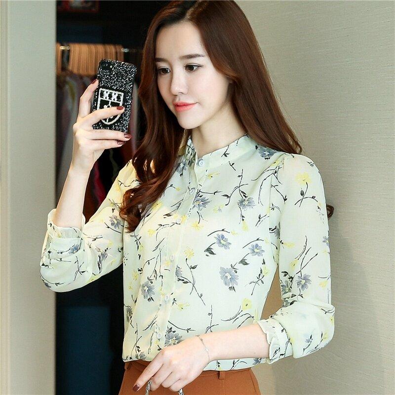 ขาย เสื้อเกาหลีฤดูใบไม้ร่วงเสื้อผู้หญิงชีฟอง (สีเบจ)