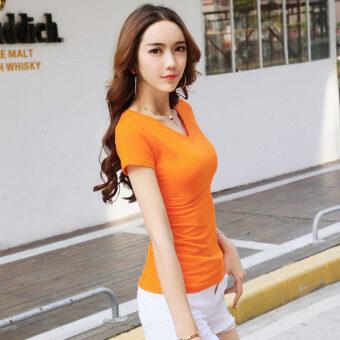 product 1507162542 95132794 3ee8f5cf0c2999999e52b9205a09d546 product ซื้อออนไลน์ สีทึบนางสาวผอมแขนสั้นเสื้อป่าบอททอมใหม่แขนสั้นเสื้อยืด  สีส้มคอวี
