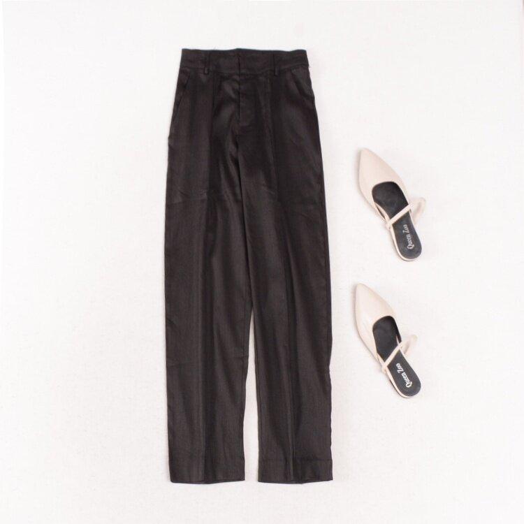 แฟชั่นสีทึบตรงกางเกงขายาวฤดูใบไม้ร่วง (สีดำ)