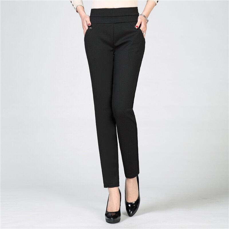 ฟุตกางเกงผู้หญิงวัยกลางคนกางเกงเอวยางยืด (สีดำ)
